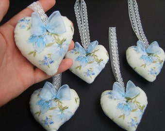 Hearts - set of 5, hanging decor, gift, party favour, home decor,fabric hearts,blue flowers,blue and white hearts,wedding,newborn,