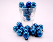 Cobalt Blue Vintage Feather Tree Glass Christmas Holiday Ornaments Two Dozen Boxed