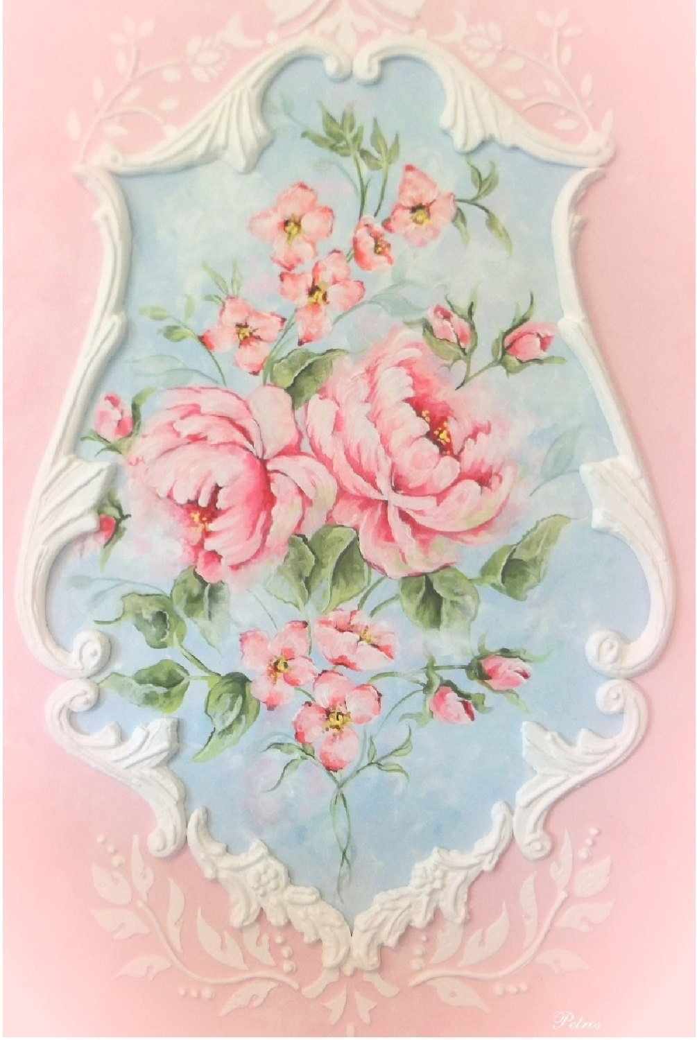 pink roses home decor shabby chic floral roses by royalrococo. Black Bedroom Furniture Sets. Home Design Ideas