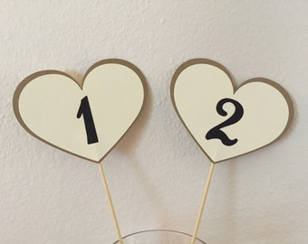 table numbers,Wedding, Shower, heart shaped table numbers on a stick, heart table number centerpieces