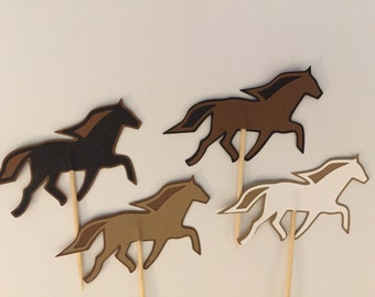 12 horse cupcake toppers-horse appetizer picks-stallion horse toppers