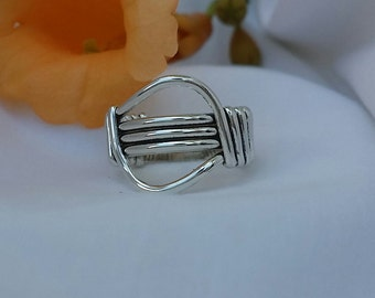 Wire Wrapped Band Ring Size 6  R-0001
