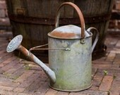 Vintage Watering Can, Rustic,  Galvanized, Rose Spray, Vintage Garden, Rustic Garden, Planter