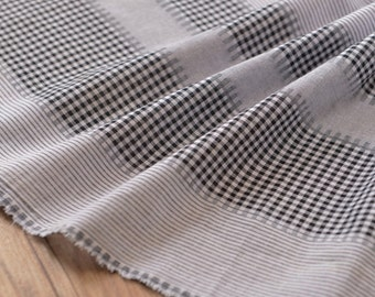 Black Checks Stripes Cotton Gauze Fabrics MJ275