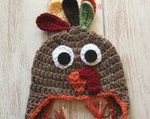 Turkey Hat - Crochet Baby Hat - Turkey Earflap Hat- Thanksgiving Photo Prop- Baby Turkey Hat- Baby Earflap Hat
