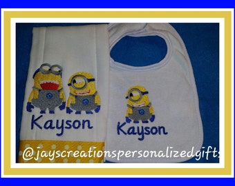 Minion Personalized Bib and Burp Cloth