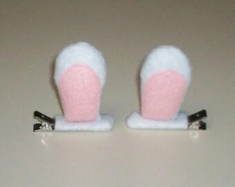 3D White Bunny Ears Hair Clips