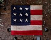Vintage American Flag / 1930's Original Wool 48 Star American Flag / Wool Bunting With Stitched On Stars