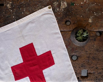 Vintage Red Cross Flag / 1940's / Original First Aid Cloth Banner / World War Two Era Hospital Flag