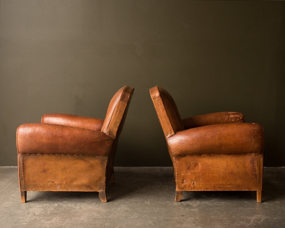 Pair Vintage Leather Club Chairs