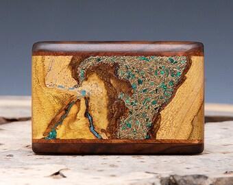 Exotic Wood, Brass, Malachite and Turquoise Inlaid Belt Buckle - Handmade