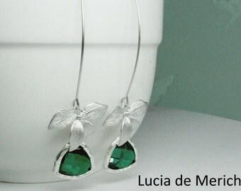 Rhodium Orchid Flower Emerald Gemstone -  Long Dangle Earrings, Romantic Wedding , Emerald Earrings, Bridesmaid Earrings