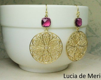 Gold flower earrings, flower hoop earrings, flower earrings, ornate earrings