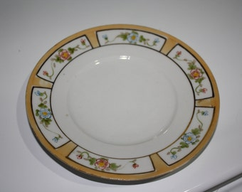 Japanese Vintage Yellow and Floral Saucer