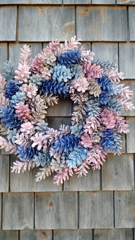 gorgeous painted pinecone wreath. Black Bedroom Furniture Sets. Home Design Ideas