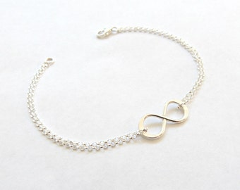 Bridesmaid Gift,Infinity Bracelet, Sterling Silver, Bridesmaid Jewelry,best friends Gift, mother of the bride gift /
