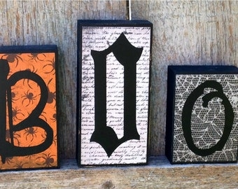 Halloween Decor Boo Chunky Wood Blocks