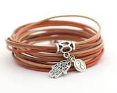 Autumn Bohemian Jewelry, Brown Peach Red Boho Hippie Bracelet, Caramel Sienna Tan Wrap Bracelet, Minimalist Yoga Bracelet
