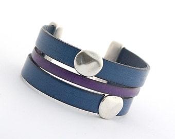 Blue Sapphire Men's Leather Wrap Bracelet, Purple Cobalt Boho Wrap Bracelet, Men's Bracelet, Leather Cuff Women, Women Bracelet boho chic