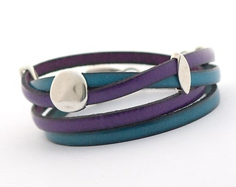 Men's Leather Bracelet, Purple Blue Leather Wrap Bracelet, Wrap Bracelet, Turquoise Violet Men's Jewelry, Leather Cuff for Men, double wrap