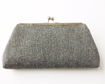Grey Herringbone Framed Clutch, Kisslock, Recycled, Thrifted Fabric Remnant, Vintage Inspired