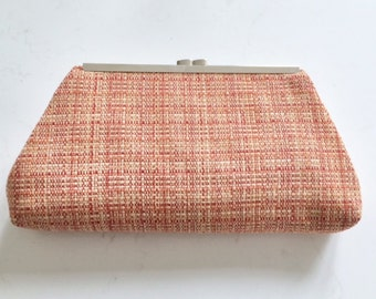 Autumn Reds and Rust Clutch, Purse, Handbag, Evening bag,  Woven Autumn Colors, Thrifted Remnant, OOAK