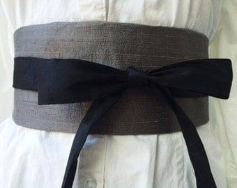 Grey Dupioni Silk Obi Belt, Waist Cincher, unMoney Belt, Secret Pocket, Hidden Pocket, Cotton Ties,