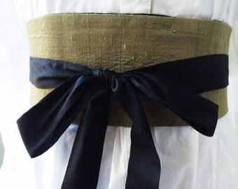 Olive Khaki Dupioni Silk Obi Belt, Waist Cincher, unMoney Belt, Secret Pocket, Hidden Pocket, Cotton Ties,