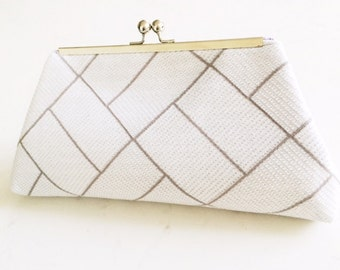 Silver Threaded Beige Paned Kisslock Clutch, Purse, Geometrical design, Vintage, Recycled, Reclaimed fabric, Silver Metal Frame,