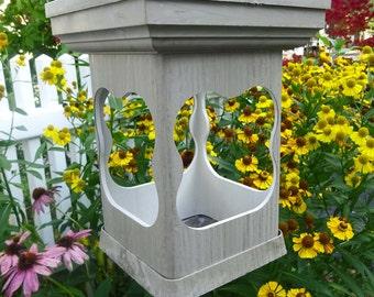 Bird feeder modern outdoor PVC decorative woodgrain style- no assemble hanging feeder -tray style- USA made, shallow planter, candleholder