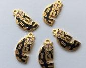 5 Laurel Burch Baby Snow Leopard Cloisonné Jewelry Cat Charms