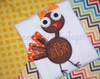 Thanksgiving applique shirt- Holiday applique shirt-monogrammed Thanksgiving shirt- Turkey applique shirt- girls Thanksgiving applique shirt