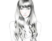 Blushing Beauty // fashion illustration // print // watercolor // artwork // indie portrait