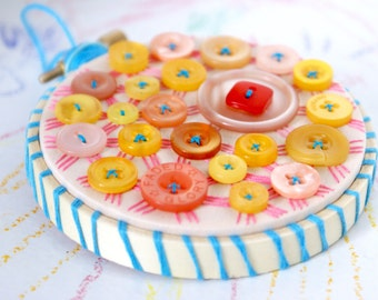 STRAWBERRY MANGO CUPCAKE Button Embroidery Textile Art in Mango Sky Yellow Bubblegum Peach Pink Colors Mini Sized