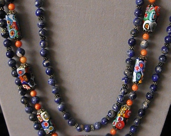 Natural Denim Lapis And Millefiori Bead Three Strand Necklace