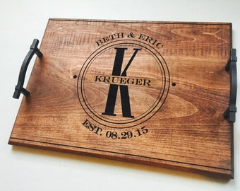 Wood Engraved Serving Tray, Custom Wedding Gift, Personalized Shower Gift, Breakfast in Bed Tray, Anniversary Tray, Family Name Engraved