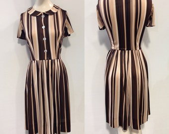1950s Striped Day Dress Brown Peter Pan Collar