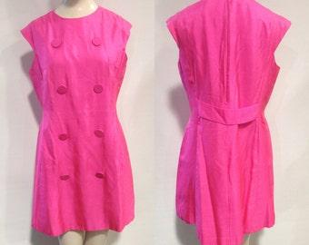 60s Mod Hot Pink Dress