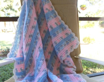 """Baby Afghan """"Serendipity"""" (Pastel blue, pink and grey) Blanket Throw A145"""