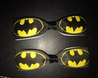 Mini Batman Hair Bows with Alligator Clips