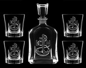 Personalized whiskey decanter set USN US Navy chief cpo scpo mcpo retirement promotion sponsor gift usmc usaf us army air force marines uscg