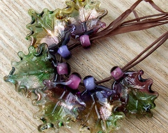 Lampwork Glass Leaves for Jewelry Making, Set of 6 leaf beads in shades of green, amethyst, purple, amber, Made to Order