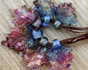 Lampwork Glass Leaves for Jewelry Making, Set of 6 leaf beads in shades of blueish gray, amethyst, fuchsia and Goldstone Made to Order