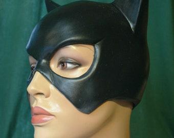 Black latex Catwoman mask
