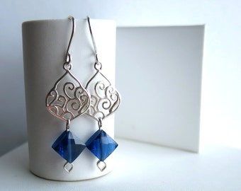 Sterling silver earrings with London blue AAA cubic zirconia faceted diamonds