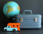 Vintage Train Case Hard Sided Blue Makeup Cosmetic Luggage