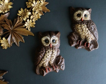 Vintage Pair of Owls 1970s Hoot Owl Wall Decor