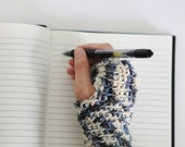 "Wool ""Writing"" Wrist Warmers - Winter Color"