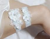 Blue garter set, satin garter set, lace garter set, blue wedding garter set, satin floral garter set