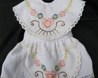 "Pinafore doll apron, 2 pc, fits 18"" dolls like American girl, created from vintage linens with embroidery, crochet edging and tatted edging"